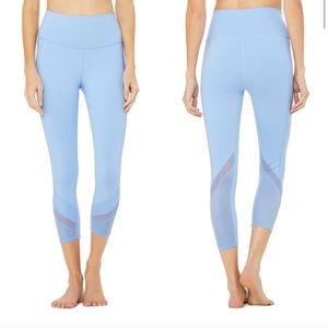 Alo Yoga High Waist Elevate Blue Mesh Capri Leg